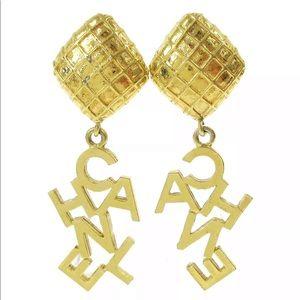 CHANEL Vintage Gold Clip Hatched Mark Iconic Logo